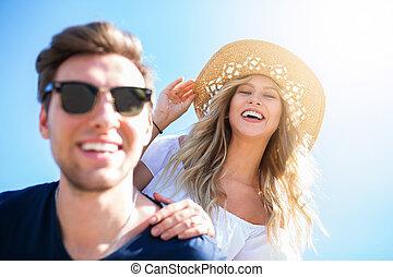 paar, zonlicht, vrolijke