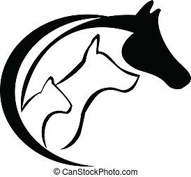 paarde, dog, kat