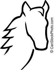 paarde, hoofd, stijl, caligraphy