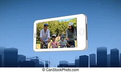 paardrijden, het tonen, smartphone, gezin