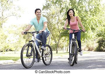 paardrijden, paar, fiets, park, jonge