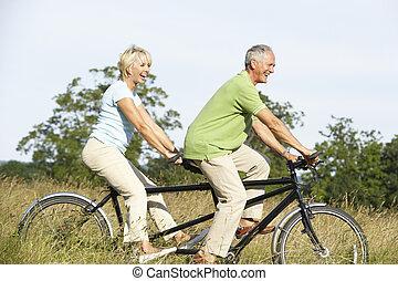 paardrijden, paar, tandem, middelbare leeftijd