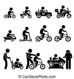 paardrijden, voertuigen, speelbal, kinderen, kleine