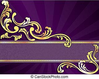 paarse , horizontaal, spandoek, goud