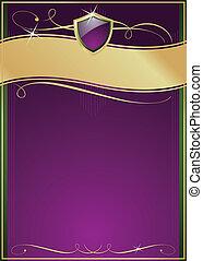 paarse , schild, goud, &, groene, sierlijk, pagina