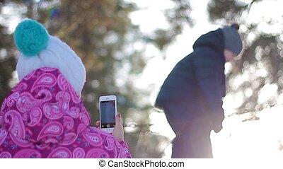 pa???e?, haar, foto, zoon, bos, moeder, winter