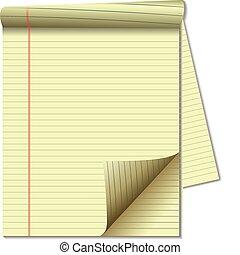 pagina, papier, wettelijk, hoek, geel stootkussen