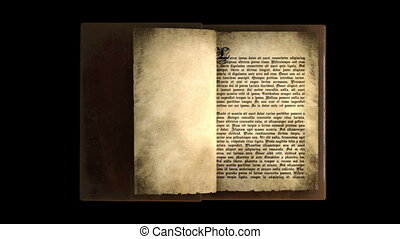 pagina's, boek, draaien, oud, magisch