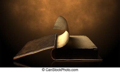 pagina's, boek, oud, wi, het wegknippen