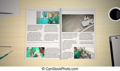 pagina's, draaien, nieuws, medisch, hand