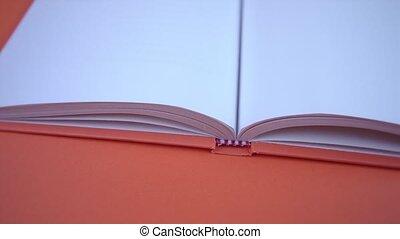 pagina's, lege, achtergrond, opengeslagen boek, sinaasappel