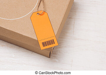 pakket, gehecht, gebonden, etiket, adres, sinaasappel, touwtje