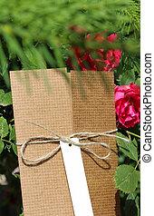 pakket, gehecht, gebonden, etiket, adres, witte , touwtje