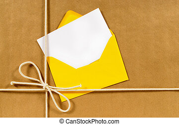 pakpapier, enveloppe, pakket, gele
