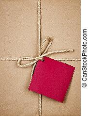 pakpapier, label, rood, cadeau