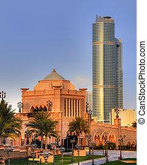 paleis, ingang, dhabi, emiraten, abu