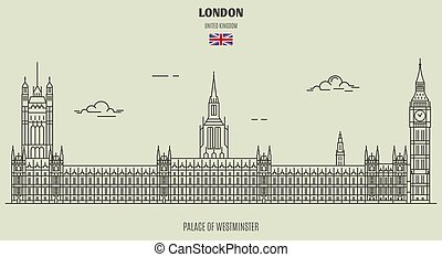 paleis, westminster, uk., londen, oriëntatiepunt, pictogram