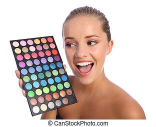 palet, kleur, oogschaduw, schoonheidsmiddelen, meisje, opgewekte