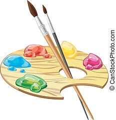 palet, kunst, houten, verven, borstels, illustratie, vector