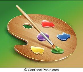 palet, kunst, houten, verven, vector, brush.