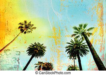 palmboom, het kunstwerk, californië