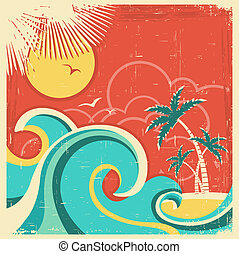 palms., textuur, tropische , papier, oud, achtergrond, zee, eiland, vector, poster, ouderwetse