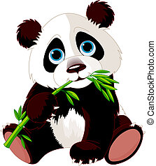 panda, eten, bamboe