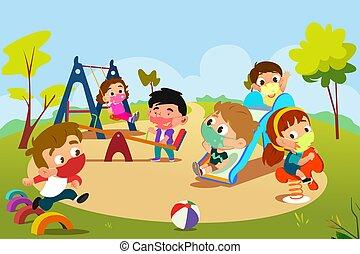 pandemic, speelplaats, spelende kinderen, illustratie, gedurende