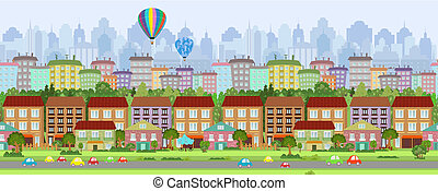 panorama, grens, seamless, cityscape.