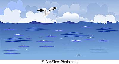 panorama, het stijgen, gull, oceaan