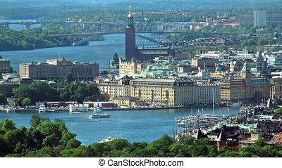 panorama, luchtopnames, stockholm