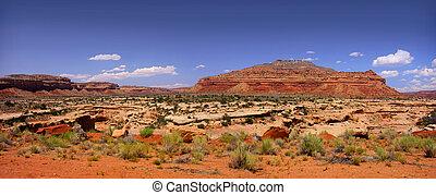 panoramisch, arizona, woestijn, aanzicht
