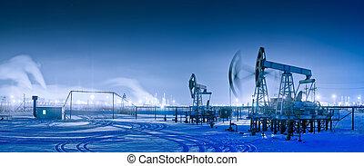 panoramisch, olie, winter, pumpjack., nacht
