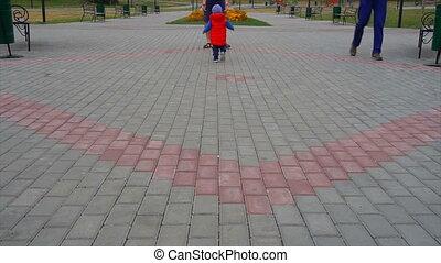 papa, baby, wandelende, park