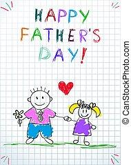 papa, dochter, vaders, groet, dag, kaart, vrolijke