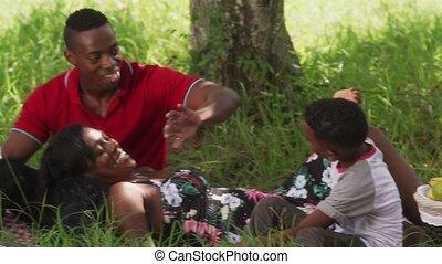 papa, stad, snack, eten, park, zoon, mamma, gedurende, picknick