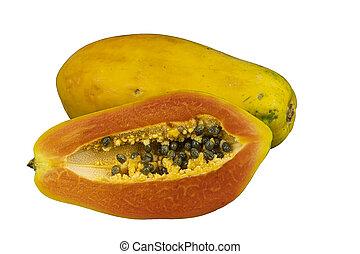 papaja, witte , achtergrond., isoleren, op, snede, afsluiten