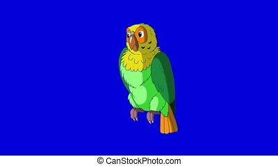 papegaai, classieke, met de hand gemaakt, turns., animatie, groene