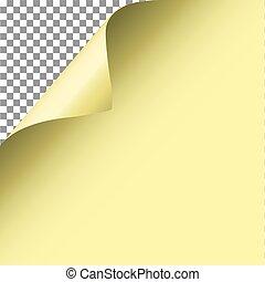 paper., gele, vector., hoek, krul, pagina