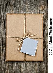 papier, bruine , label, cadeau
