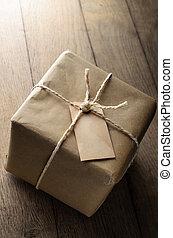 papier, bruine , verweerd, leeg, touwtje, etiket, pakket
