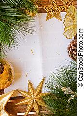 papier, chrismas, decoraties, pagina