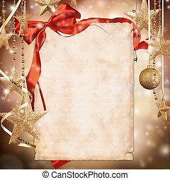 papier, kerstmis, achtergrond, leeg