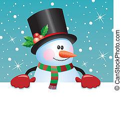 papier, leeg, vasthouden, sneeuwpop