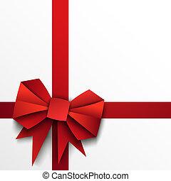 papier, lint, rood, geschenk buiging