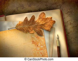 papier, ouderwetse , foto, floral