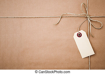 papier, pakket, bruine