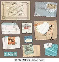 papier, set, oud, voorwerpen