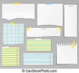 papier, u, vector, set, voorwerpen