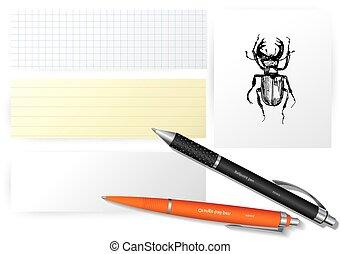 papier, vector, set, insecten, voorwerpen